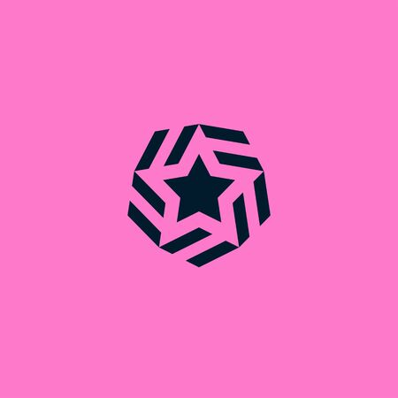 Vector star design template elements. Abstract elegant and modern striped style icon. Isolated object on pink background. 向量圖像