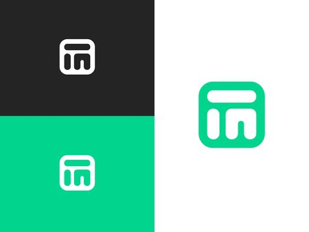 Initial three letter design of letters I, U and M in square rounded shape. Concept label or badge. Icon design template element. Abstract shapes sign. Simple vector element illustration. 向量圖像