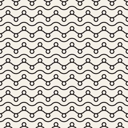 Horizontalwavy lines seamless pattern. Abstract vector texture with waves, stripes, smooth bends. Seamless nautical rope knot pattern. Easy scalable. Black white version.
