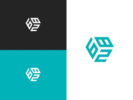 Combined number 682, vector element of the icon template. Set of numbers can be used as a city birthday or as a sports number for competitions. Simple creative geometric sign. Emblem for your design.