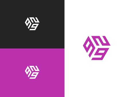 Combined number 929, vector element of the icon template. Set of numbers can be used as a city birthday or as a sports number for competitions. Simple creative geometric sign. Emblem for your design.
