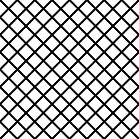 Abstract mosaic grid, mesh background with square shapes. Seamlessly repeatable. Grating, lattice pattern. Black white version.