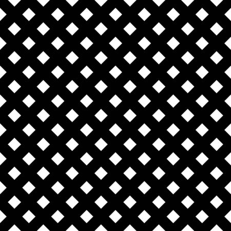 Abstract mosaic grid, mesh background with square shapes. Seamlessly repeatable. Grating, lattice pattern. Black white version. Vecteurs