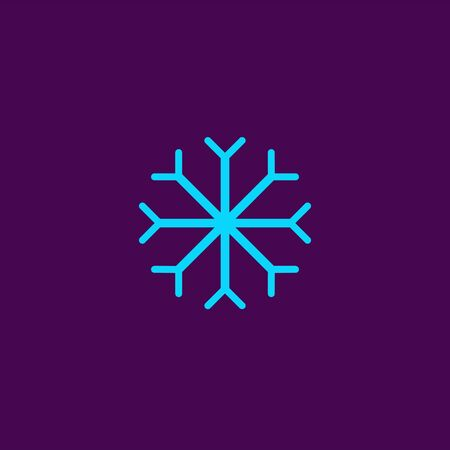Blue Snowflake flat icon. Snow pictogram. Winter symbol. Vector illustration, EPS10