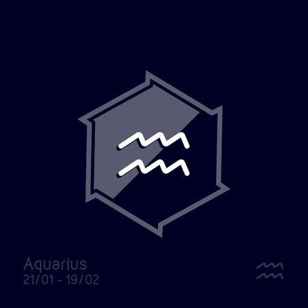 Aquarius zodiac sign. Astrology symbol vector illustration