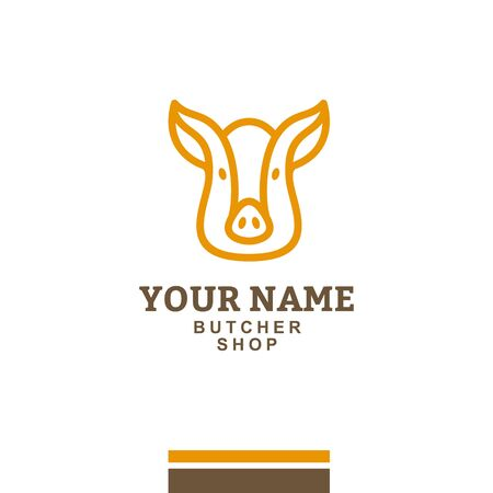 Yellow pig head icon on a white background