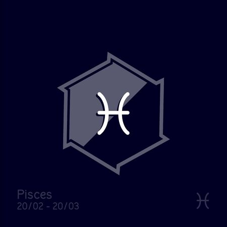 Pisces zodiac sign. Astrology symbol vector illustration Illustration