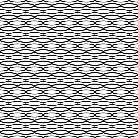 Black and white seamless wavy line pattern