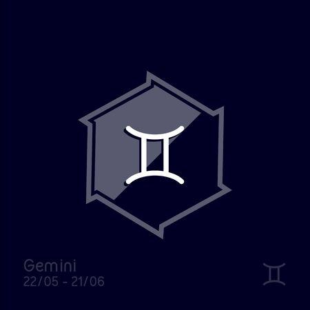 Gemini zodiac sign. Astrology symbol vector illustration. Simple vector element illustration. Abstract symbol. 向量圖像