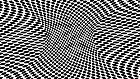 Optical illusion dots background. Abstract 3d black and white illusions. Conceptual design of optical illusion vector. Modern backdrop for websites and postcards, banners and for cover design. Stock Illustratie