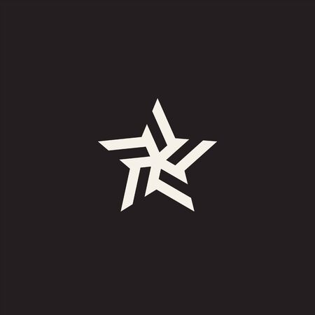 Stylized linear shape star logo design template. Modern star abstact vector illustration with lines. Black and white vector graphic fashion symbol. Award success logotype concept icon. 向量圖像
