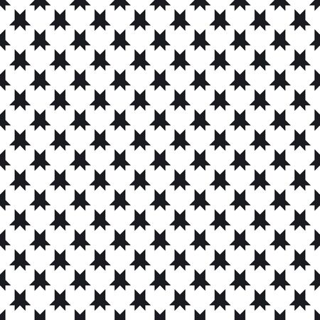 Geometric seamless pattern with star figures. Simple repeat design for decor, textile, fabric, furniture, cloth. Funky monochrome background. Vector abstract black and white ornamental texture.