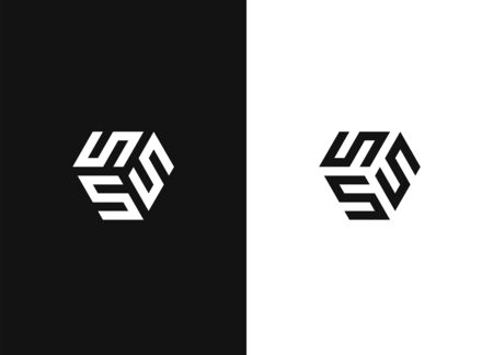 The cube with the letter SSS brand logo. Unusual geometric letter S. Architecture vector logo. Isolated monogram. Negative or black and white vector template design. Illusztráció