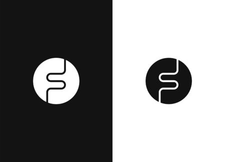 Letter F logo, Circle shape symbol, Digital, Technology, Media. Vector design template elements for your application or corporate identity. Black white version. 向量圖像