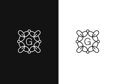 Vector floral monogram. Elegant monogram design template. Minimalist template for branding and logo design. Modern elegant frame with leaves. Contemporary graphic eco design. Black white version.