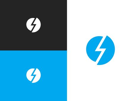 Blue round shape icon of stylization lightning