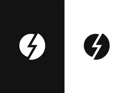 Stylized lightning sign, power, strength. Electricity energy power symbol. Flat web button. Simple vector element icon in a modern style for your design. Black white version.