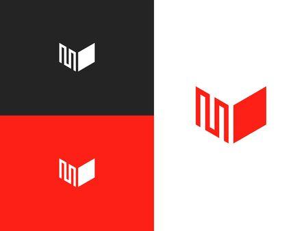 Letter M with Heart Love logo design inspiration. M icon symbol vector illustration. 向量圖像