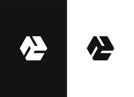Logo design template. Universal vector icon. Minimalistic hexagonal geometric logo. Universal business identity element. Abstract shapes sign. Black white version. 向量圖像