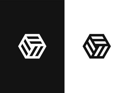 Abstract hexagon vector symbol. Hexagon shape logo design elements. Negative or black and white vector template design for your website design, icon, app, UI.