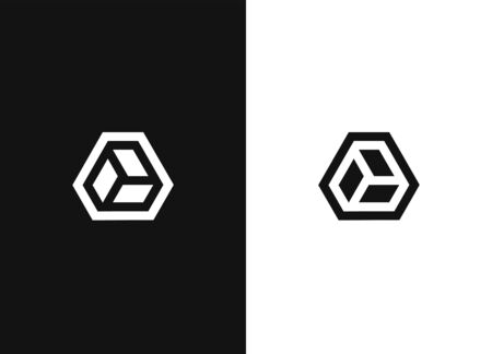 Logo in a simple vector modern style. Minimalistic hexagonal geometric logo. Universal business identity element. Abstract shapes sign. Black white version.