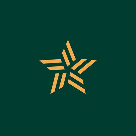 Creative illustration of abstract star logo template, trendy linear style. Golden vector symbol. Emblem concept for show business.