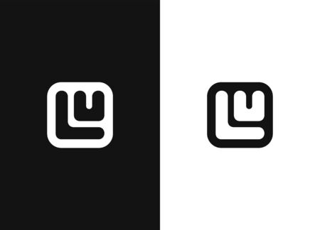 Initial letters LU logo in square rounded shape. Logo icon design template elements. Monogram. Simple sign illustration in a modern style. Negative or black and white vector template design.