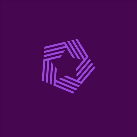 Logo star icon. Premium star in style line art. Abstract star logo for your design, vector illustration. Elegant and modern striped style. Illusztráció