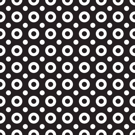 Simple monochrome geometric seamless pattern with rings and dots. Abstract monochrome geometric texture. Stylish design for prints, decoration, fabric, cloth, covers, linens Illusztráció