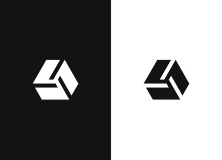 Abstract hexagonal symbol. Hexagon shaped logo design element. Geometric icon for business, identity, stamps, signs, marks and stickers. Universal vector icon. Black white version.
