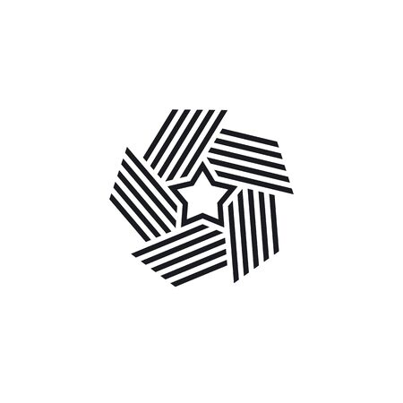 Premium star in style line art. Abstract star logo for your design, vector illustration. Elegant and modern striped style. Black white version element.