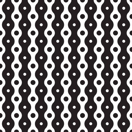 Modern stylish texture. Regularly repeating geometrical pattern with vertical dotted and wavy stripes. Vector seamless background. Black and white decorative element.