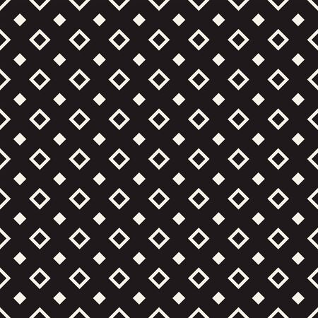 Tile pattern with white big and small rhombuses on black. Seamless pattern design for banner, poster, card, postcard, cover, business card. Monochrome geometric background. Vector illustration.
