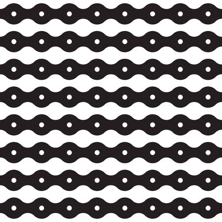 Modern stylish texture. Regularly repeating geometrical pattern with horizontal dotted and wavy stripes. Vector seamless background. Black and white decorative element. Illusztráció