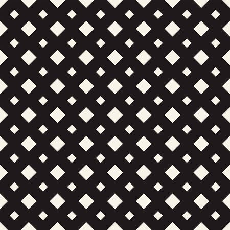Tile pattern with white big and small rhombuses on black background. Vector seamless pattern. Repeating geometric tiles. Regular flat monochrome design for prints, decoration, web.