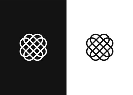 Abstract vector symbol in ornamental style, Emblem for luxury Products, Hotels Boutiques, Jewelry, Cosmetics. Premium floral design template for branding and logo design. Black and white version.