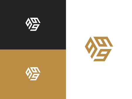 Logo three digits 9. Combination number 999 suitable for a company or business. Simple creative geometric sign. Stylish vector emblem for Your design. Illusztráció
