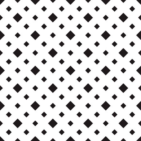 Tile pattern with white big and small rhombuses on black. Seamless stylish geometric background. Repeating geometric tiles. Monochrome design for prints, decoration, web. Vector illustration.