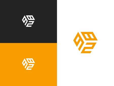 Combined number 982, vector element of the icon template. Set of numbers can be used as a city birthday or as a sports number for competitions. Simple creative geometric sign. Emblem for your design.