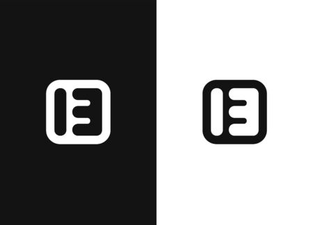 Vector sign number 13. Abstract capital letter B in square rounded shape. Stylized monogram. Logo icon design template elements. Linear logo. Emblem for your design. Black white version. Illusztráció