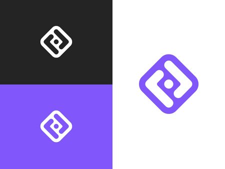 Network Icon in square rounded shape. Business, Connect, Network Logo. Mockup symbol for corporate branding identity. Label inspiration for advertising, business, web design. Illusztráció
