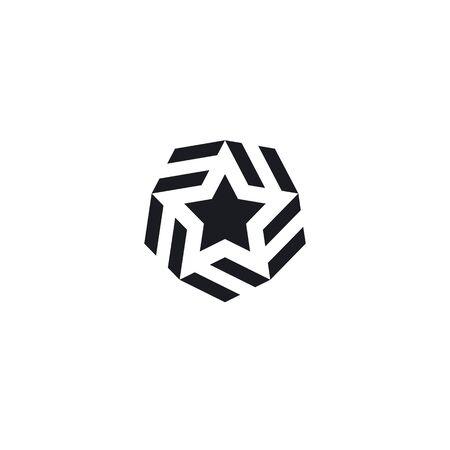 Logo star icon. Premium star in modern style. Abstract star logo for your design, vector illustration. Black white version element.