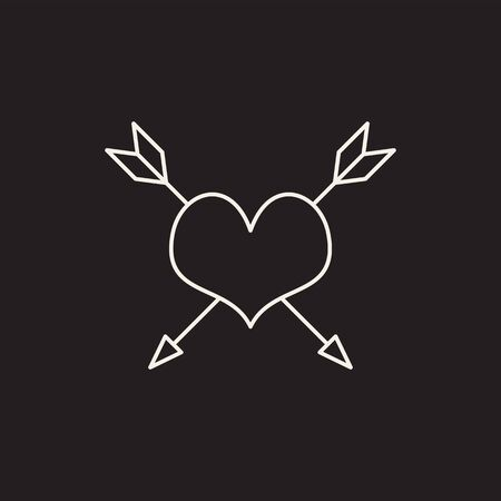 Line sketch icon isolated white on black background. Heart, arrow. Love symbol. Amour symbol. Tattoo studio concept. Can be used for topics like shop, tattoo salon, simple drawing.