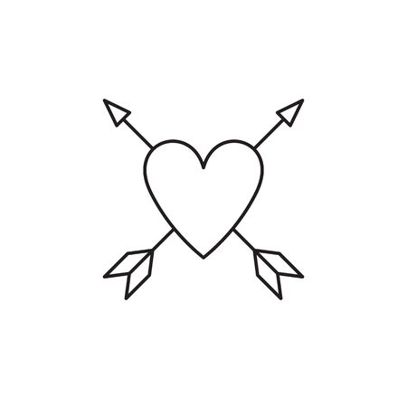 Tattoo line sketch icon isolated on white background. Heart, arrow. Love symbol. Amour symbol. Tattoo studio concept. Can be used for topics like shop, tattoo salon, simple drawing.