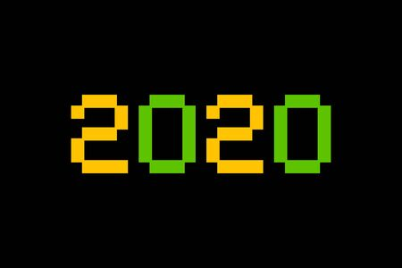 Number inscription 2020. Greeting card design template in pixel art bitmap style for winter holidays. Festive banner in 8bit art for games. Vector Illustration