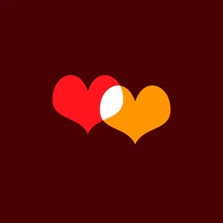 Hearts icon yellow and red on dark