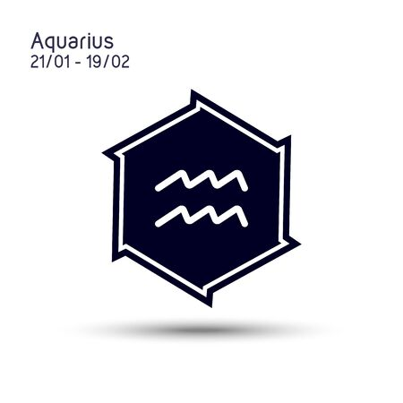 Abstract image of the zodiac symbol Aquarius in a six-pointed star for mobile concept and web design. Pointed beveled star. Astrology symbol vector illustration.