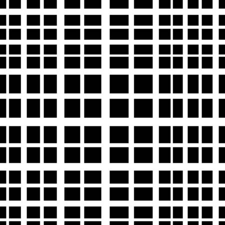 Vector black square checkered background or texture. Simple grid of intersecting lines. Abstract seamless patterns with squares. Cloth design, wallpaper. Black and white version.