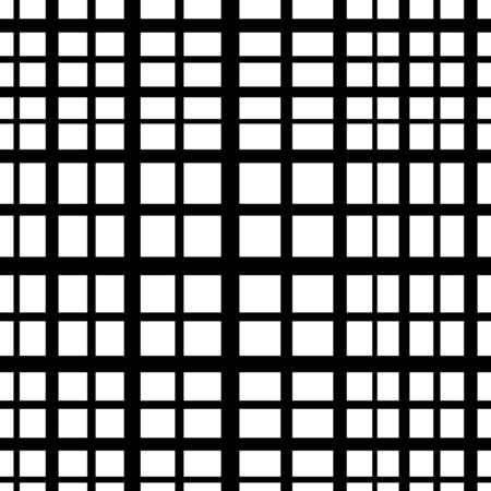 Vector white square checkered background or texture. Simple grid of intersecting lines. Abstract seamless patterns with squares. Cloth design, wallpaper. Black and white version. Vectores