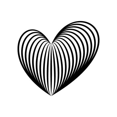 Creative linear heart icon. Love symbol in engraving style or etching. Stylized vector heart, consisting of black lines on white background. Stylish vector emblem for your design.  イラスト・ベクター素材